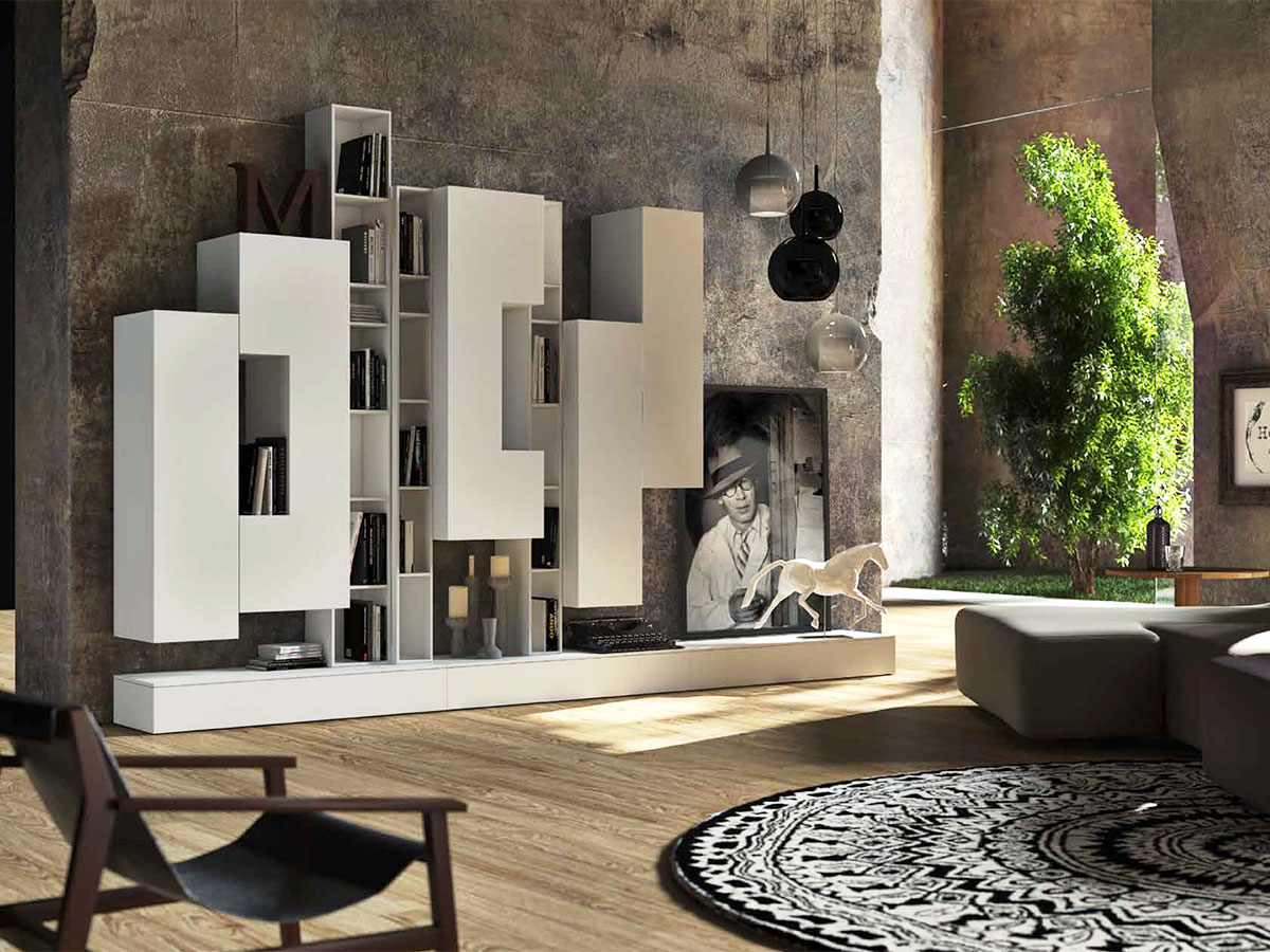 Soggiorno con libreria bianco arredamento mobili for Arredare parete soggiorno