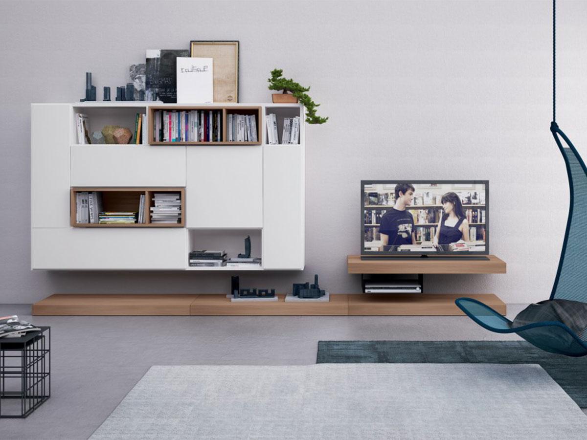 Parete per soggiorno bianca arredamento mobili - Mobili a parete per soggiorno ...