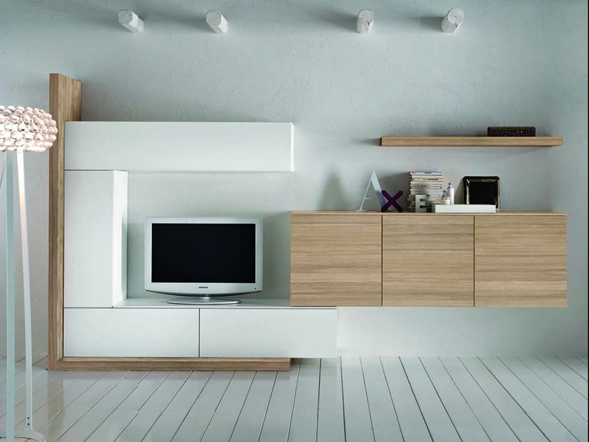 Soggiorno componibile con finitura in legno naturale for Foto mobili soggiorno moderni