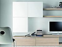 Soggiorno componibile con finitura in legno naturale for Mobili soggiorno particolari
