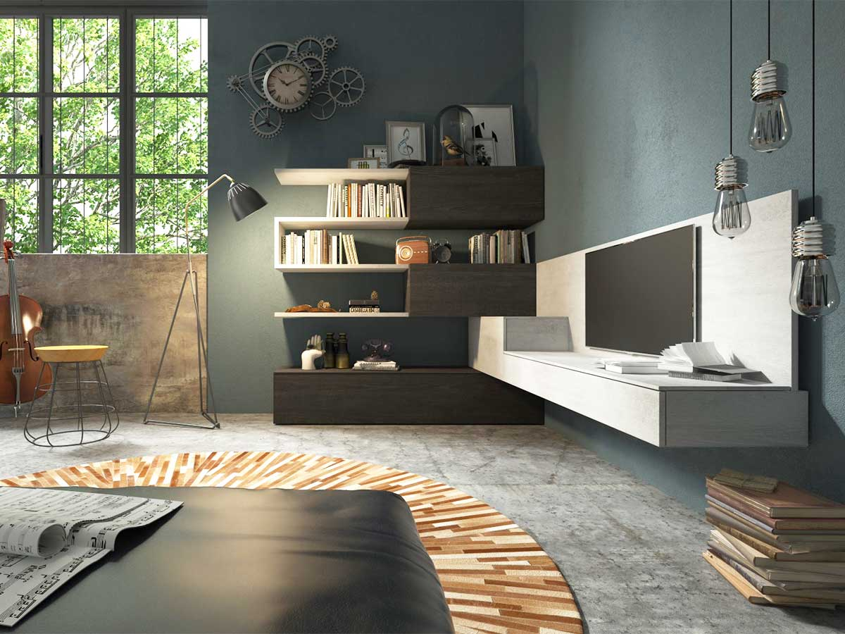 Soggiorno angolare moderno arredamento mobili for Mobili per soggiorno