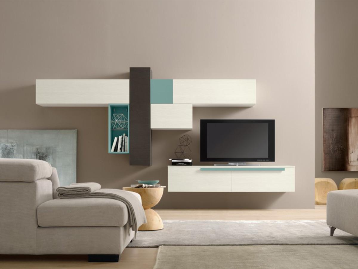 Soggiorno moderno modulare arredamento mobili for Arredamento sala moderno