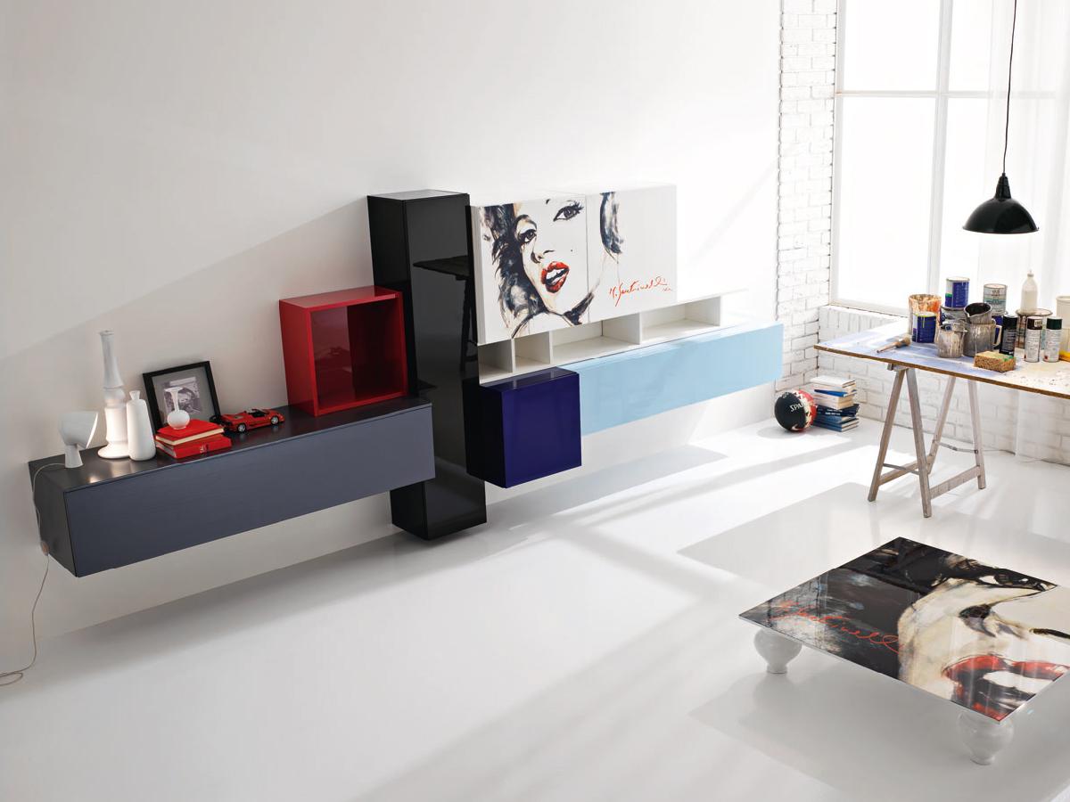 Soggiorno moderno con decorazione arredamento mobili for Decorazioni pareti soggiorno