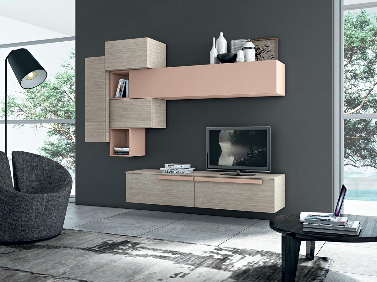 Soggiorno moderno cipria arredamento mobili for Arredamento soggiorno moderno