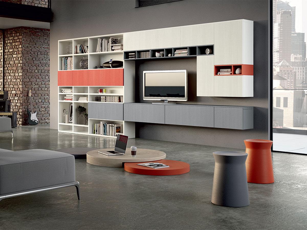 Parete soggiorno componibile arredamento mobili arredamento mobili arredissima - Arredamento parete soggiorno ...
