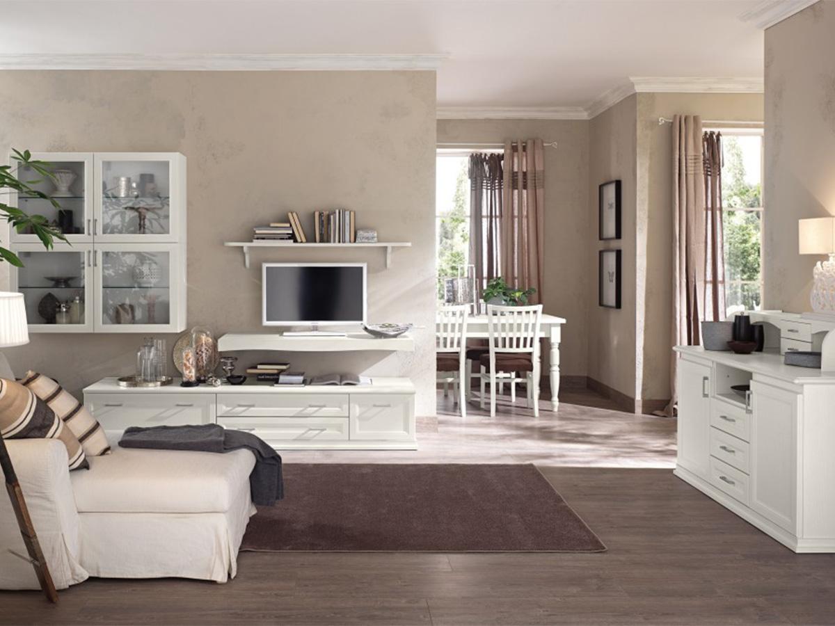 Soggiorno classico bianco vintage arredamento mobili for Arredare parete soggiorno