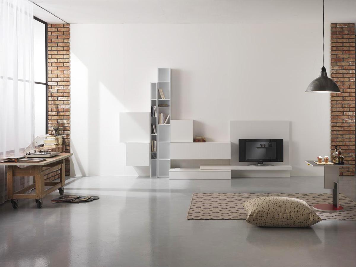 parete soggiorno moderna arredamento mobili