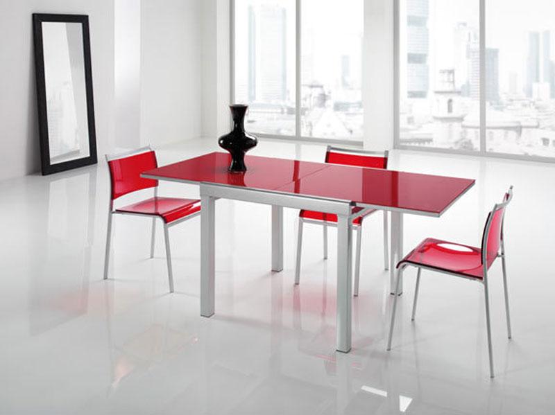 Tavolo moderno rosso allungabile