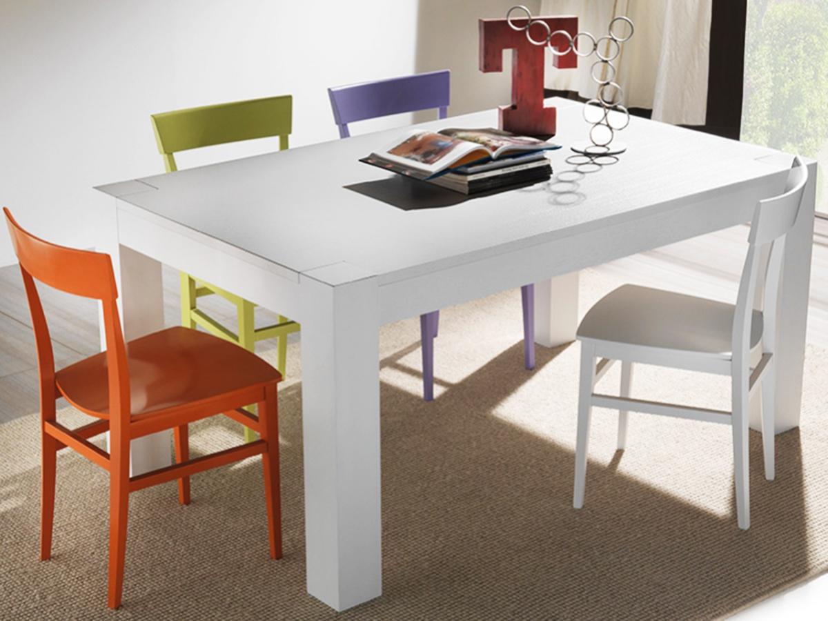 Tavolo allungabile legno bianco sedia faggio laccato for Tavolo con sedie moderno