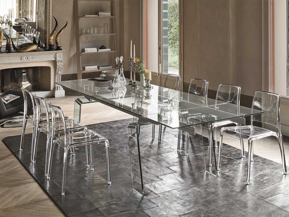 Tavolo allungabile in vetro arredo soggiorno for Sedie design policarbonato