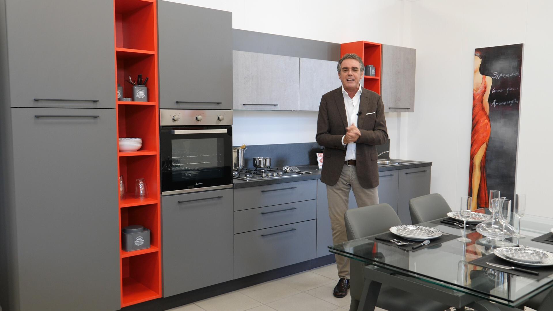 Cucina Bianca E Ciliegio cucina moderna grigio laccato, cemento spatolato e dettagli